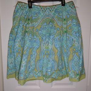 Talbots Vibrant Blue & Green Paisley Pleated Skirt